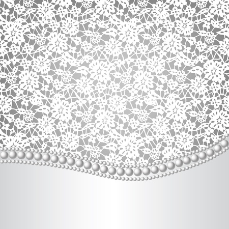 pearl necklace:  template for wedding, invitation or greeting card with lace background and pearl necklace