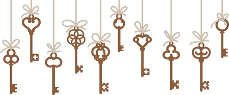 antique keys: hanging antique skeleton keys Illustration