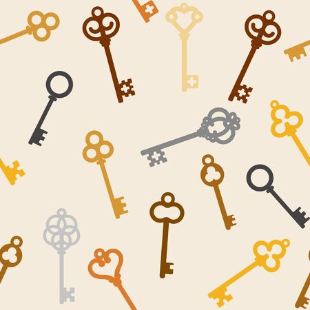 passkey: seamless background with antique skeleton keys