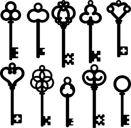oude sleutel: antieke skelet toetsen Stock Illustratie