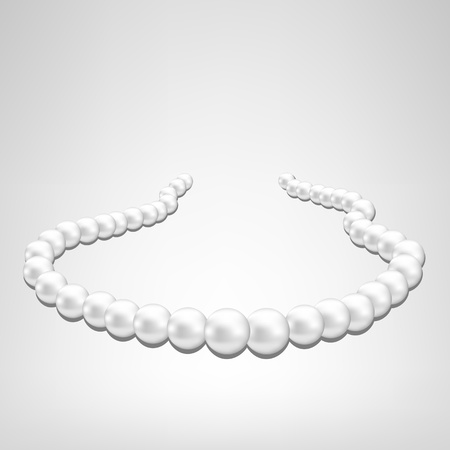 necklace: pearl necklace on gray background Illustration