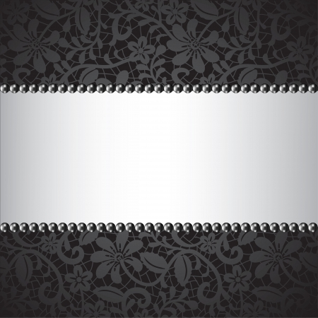 colliers: perle noire et dentelle noire carte
