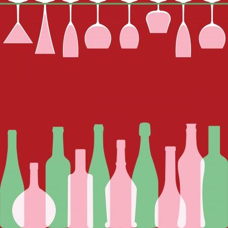 whisky bottle: Bottles and wineglasses in bar Illustration