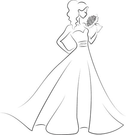 robes de soir�e: silhouette de jeune mari�e avec bouquet Illustration