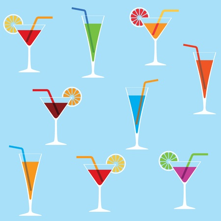 blue hawaiian drink: Seamless background with cocktails