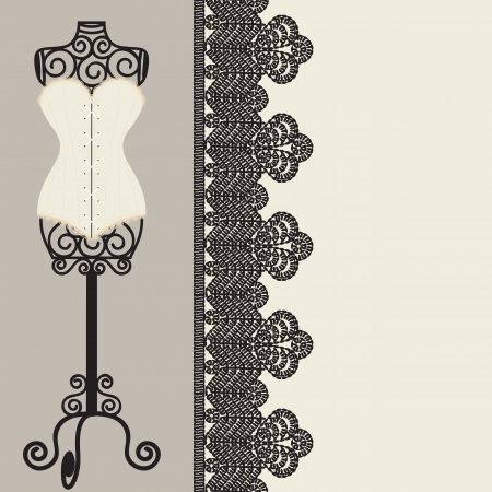 antique corset with lacing Vector