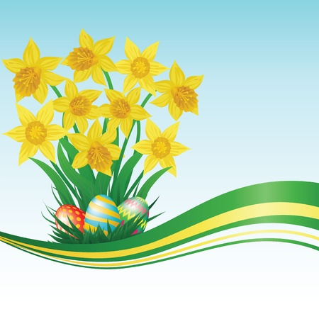 Easter eggs, daffodils, grass and blue sky Vector