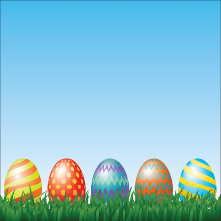 Easter eggs and grass Stock Vector - 17746359