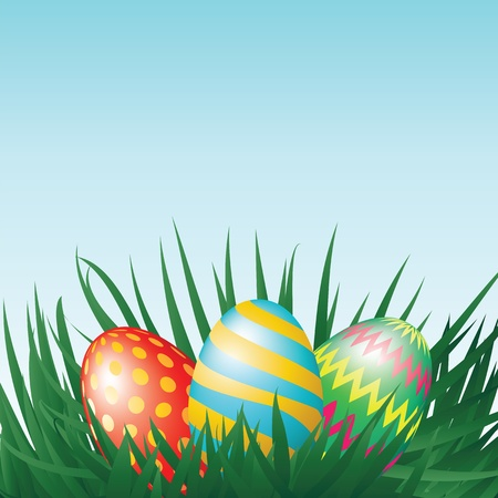 Easter eggs and grass Stock Vector - 17746358