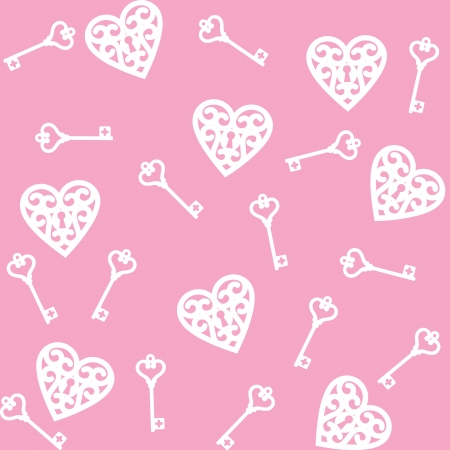 skeleton key: seamless pink background with lock shaped heart and skeleton key