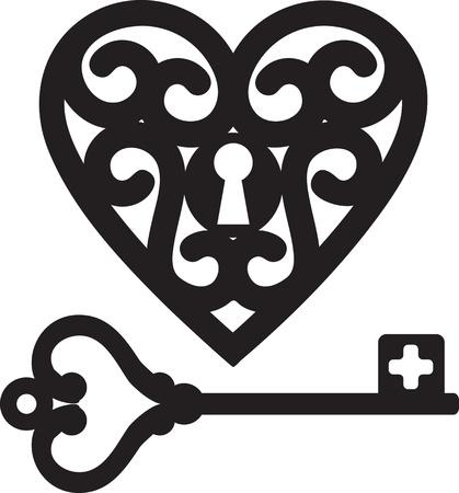 to lock: blocco a forma di cuore e scheletro chiave