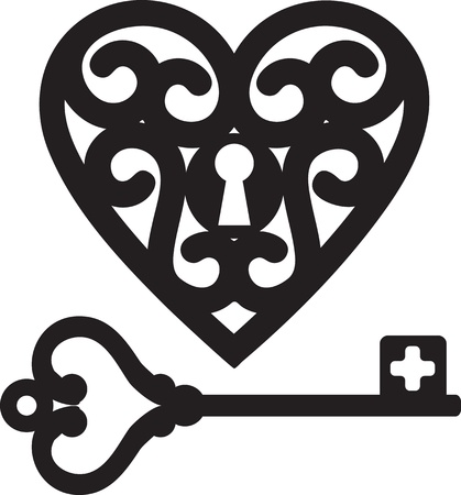 antique keyhole: lock shaped heart and skeleton key