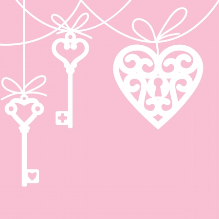 hanging lock shaped heart and skeleton key