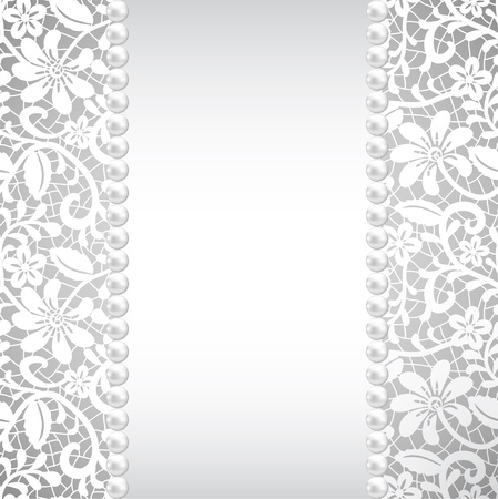 wedding, greeting or invitation card with pearl and lace Vector