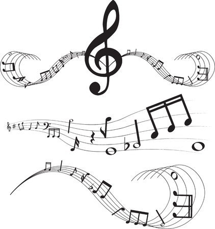 Set of music notes on staves