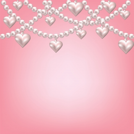 jewelry design:  heart pearl necklace pink background Illustration