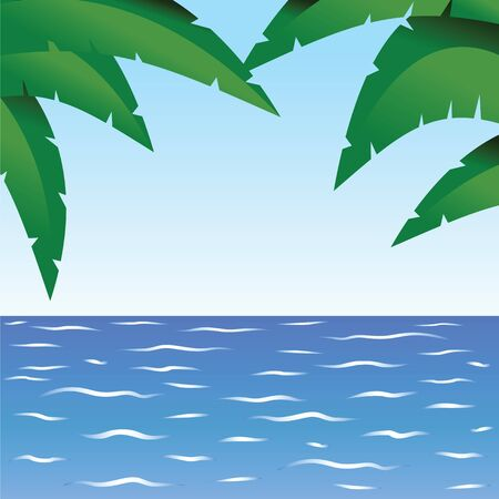 Palm and ocean Stock Vector - 17746201