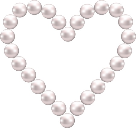pink pearl shaped heart Vector