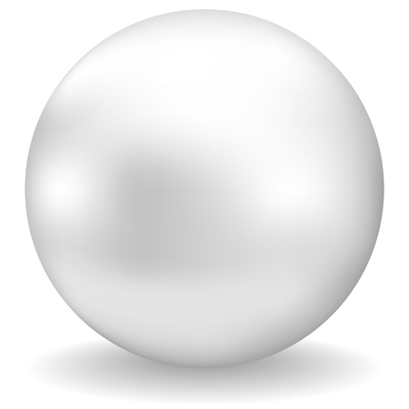 nacre: white pearl with shadow on white background