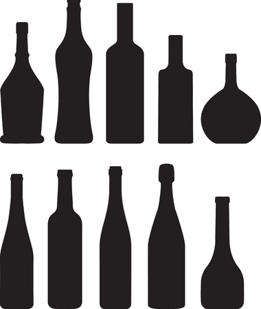 champagne bottle: set of bottle silhouette