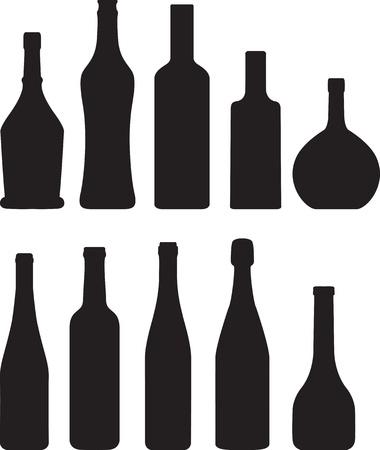 vodka bottle: set of bottle silhouette