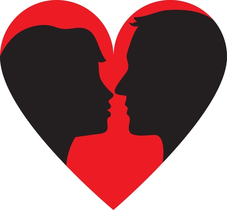 Silhouette of kissing couple in heart frame Stock Vector - 17746152