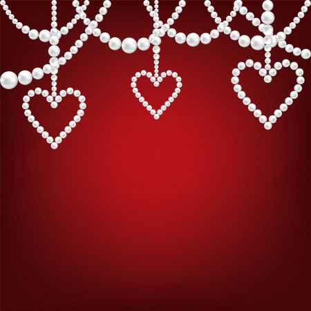 white pearl hacklace and heart on red background Vector
