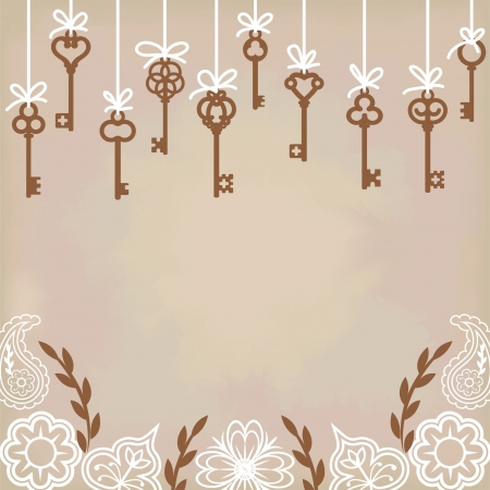 hanging antique skeleton keys with floral decoration Vector
