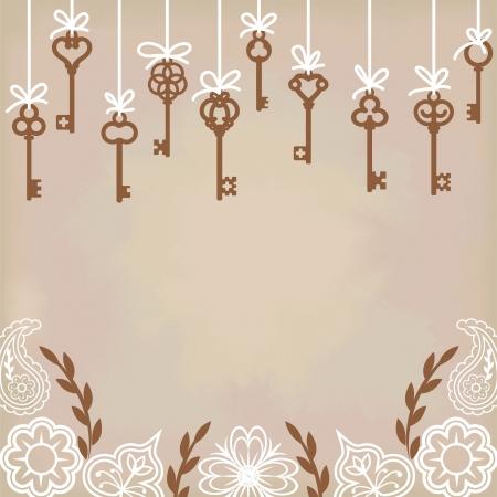 passkey: hanging antique skeleton keys with floral decoration Illustration
