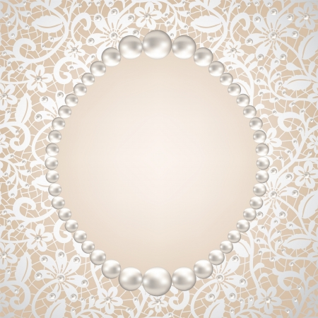 jewels: pearl frame and lace background