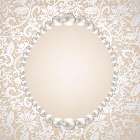 perlas: perla marco y encajes fondo