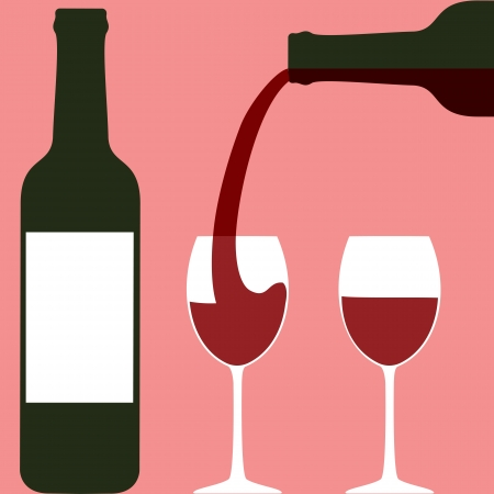 bottle of wine: Pouring wine  Bottles and wineglasses Illustration