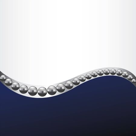 shiny metal: Abstract background with silver line and pearls Illustration