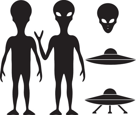 Alien and UFO silhouette set Vector