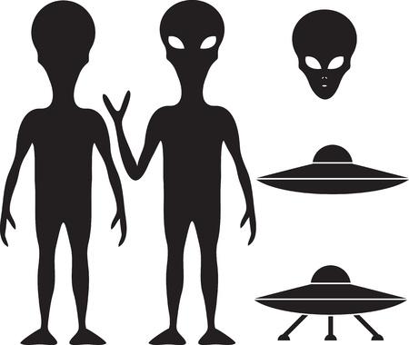 Alien en UFO silhouet set Vector Illustratie