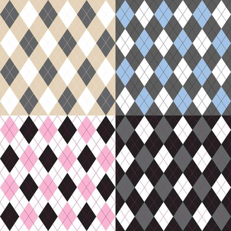 Argyle pattern set Vector