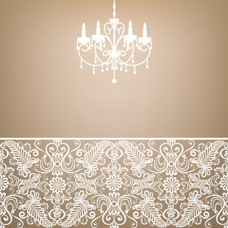 chandelier background: antique chandelier light in the room with vintage wallpaper  Illustration