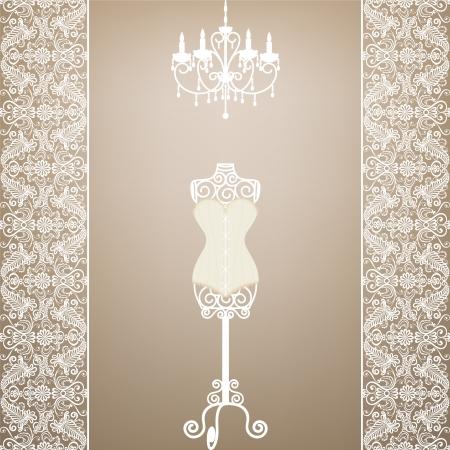 mannequin: Carte de cru avec le mannequin et le lustre avec bordure en dentelle
