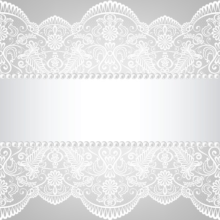 Pearl frame and lace background  Vector