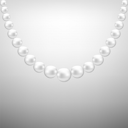 pearl necklace: Gray background with hanging white pearl necklace
