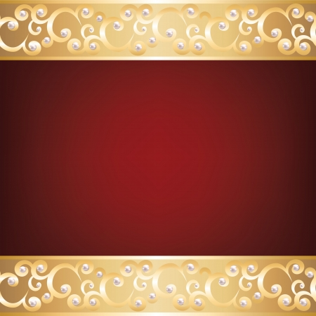 baroque pearl: Background with gold jewelry frame and pearls