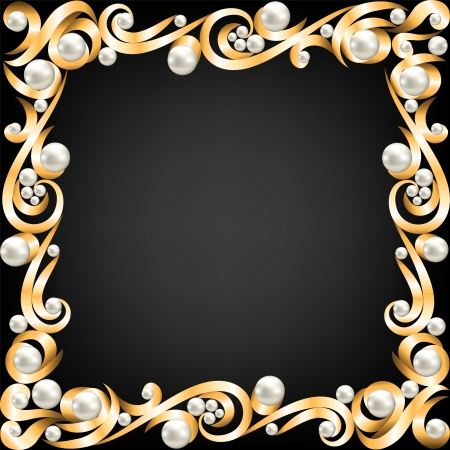pearl background: Background with gold jewelry frame and pearls