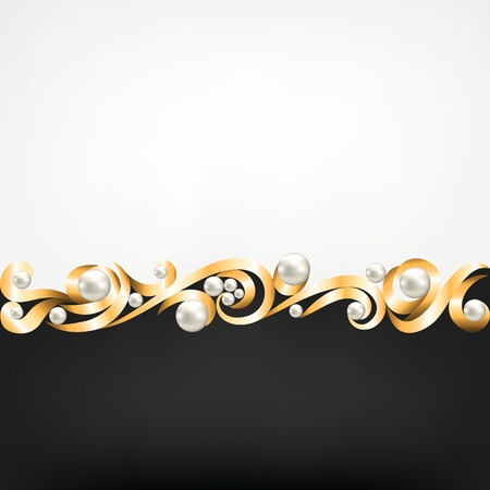 Background with gold jewelry frame and pearls Vector