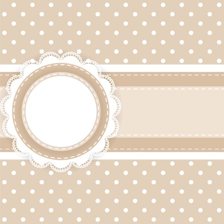 Scrapbooking card with lace and ribbon on polka dot fabric Vector