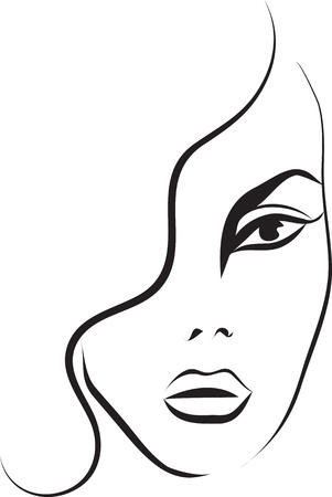 Beautiful woman face  Fashion sketch Vector