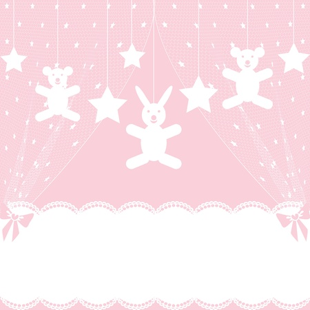 Baby shower card with crib Vector