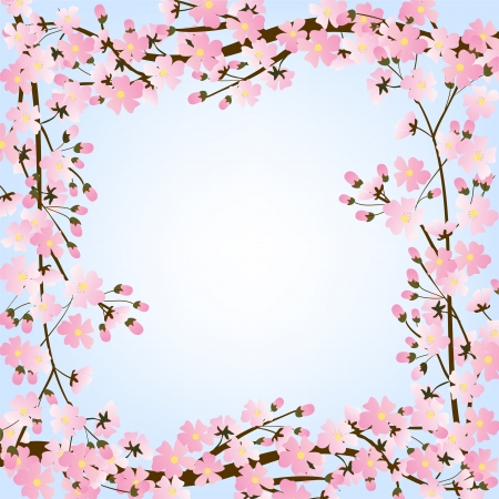 Spring background with blooming tree brunch frame Vector