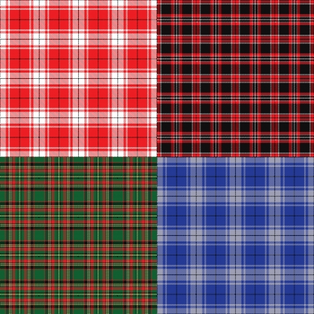 christmas plaid: Checkered fabric seamless background  Tartan set
