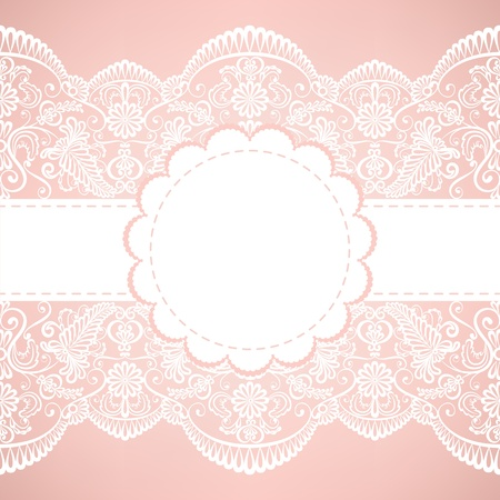 invitacion boda vintage: Plantilla para la boda, invitaci�n o tarjeta de felicitaci�n con fondo de tela de encaje Vectores
