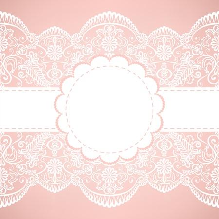 veters: Sjabloon voor bruiloft, uitnodiging of wenskaart met kant stof achtergrond